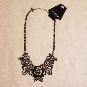 Torrid brand new black floral statement necklace